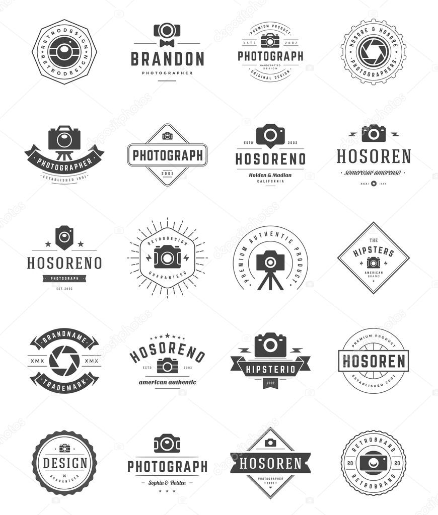 Photographer Logo Templates Set Vector Design Element Vintage Style For Logotype Stock