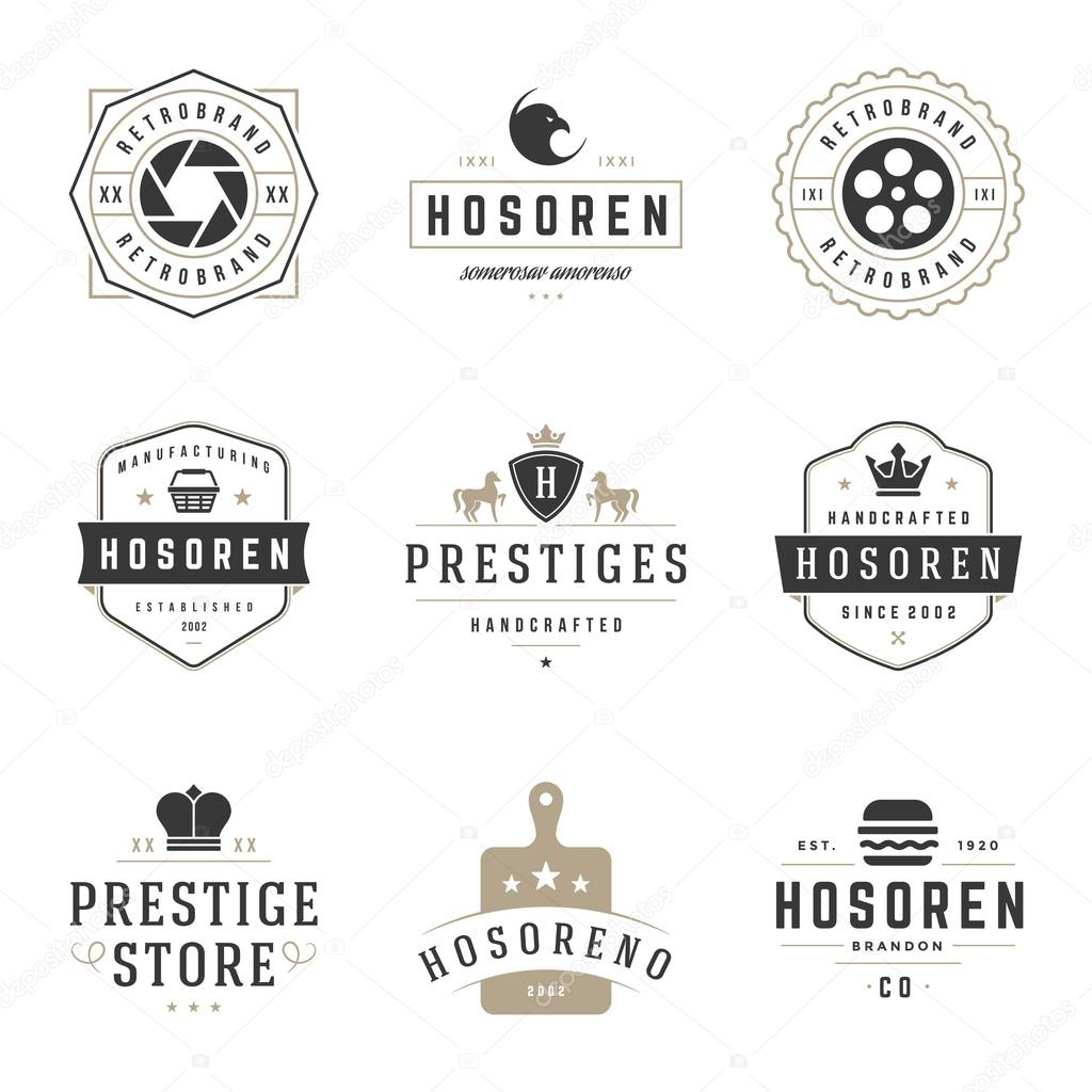 c4035f5f7fcb8 Vintage Logos Design Templates Set. Vector logotypes elements collection —  Stock Vector