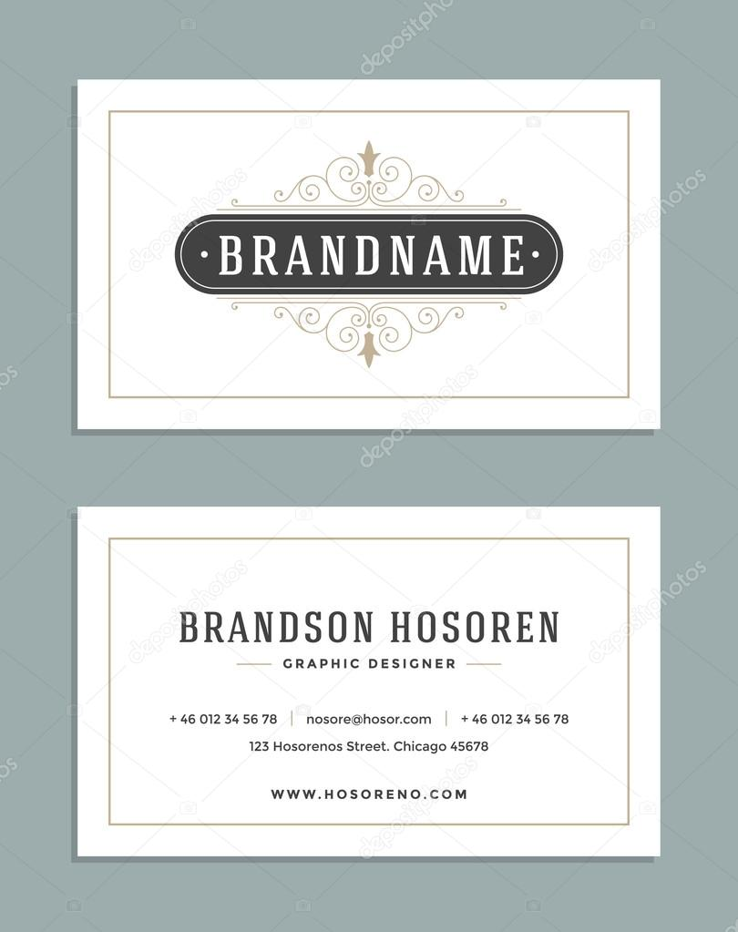 Vintage Ornament Business Card Vector Template. Retro Luxury Logo ...