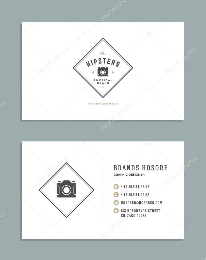 Diseño tarjeta de visita y Logo Retro plantilla. Vector diseño ...