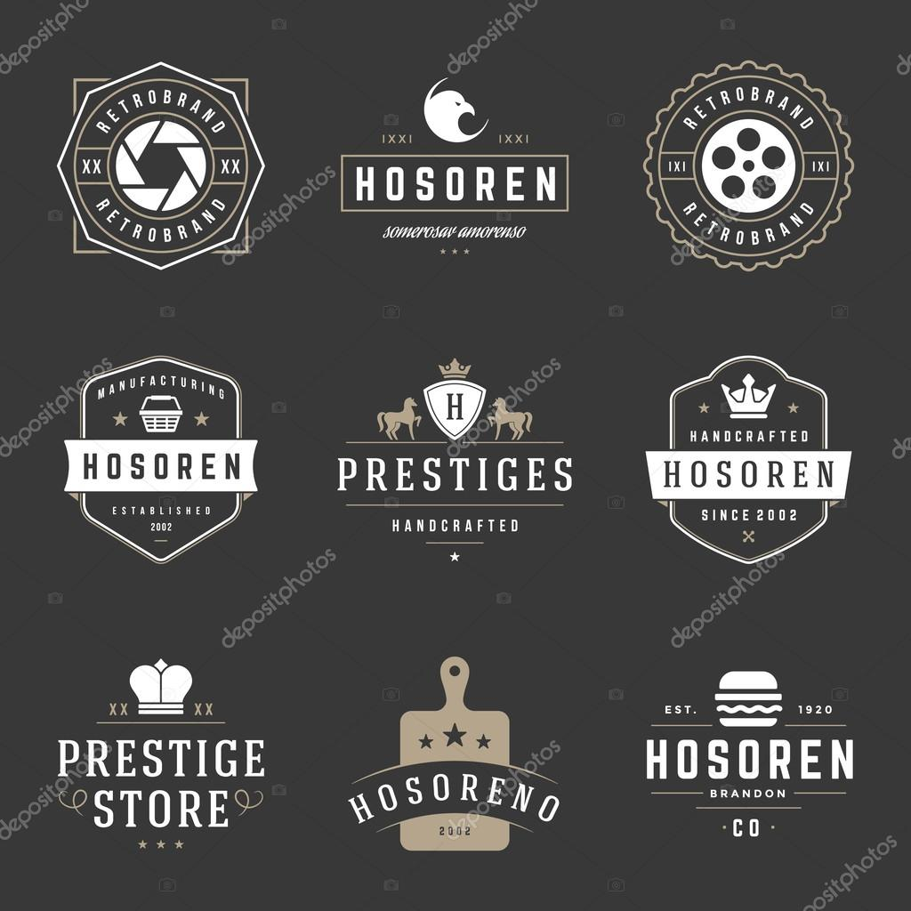 Vintage Logos Design Templates Set. Vector design elements, Logo Elements