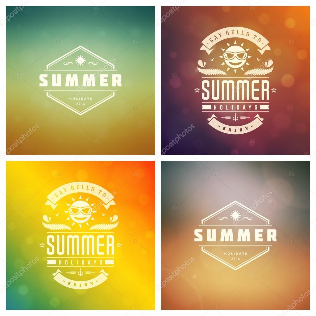 Sommer Ferien Vector Retro Typografie Set Nachrichten und ...