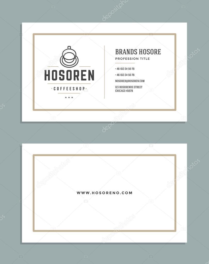 Business Card Design und Retro-Style Vorlage Coffee-Shop Logo ...