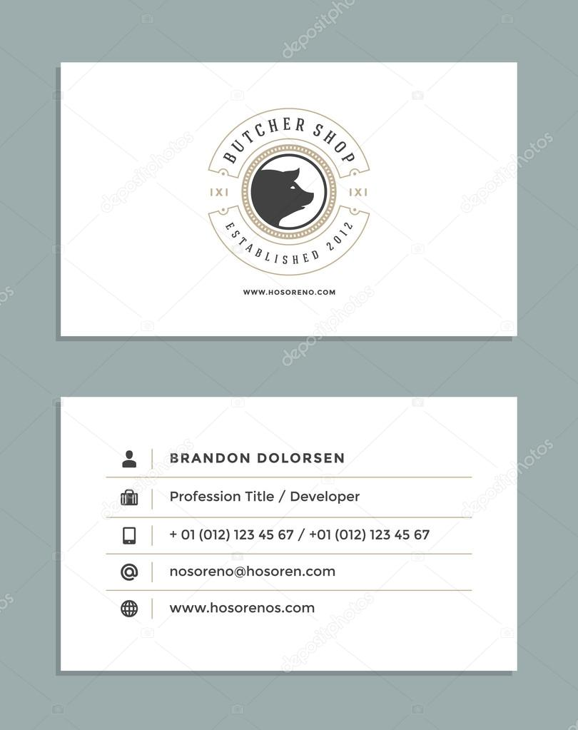 Carte De Visite Design Et Style Retro Modele Butcher Shop Logo Illustration Stock