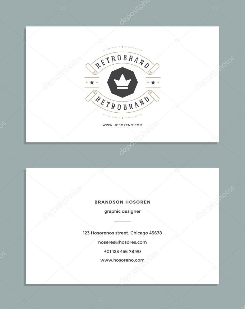 Diseño tarjeta de visita y logotipo de la plantilla de estilo Retro ...
