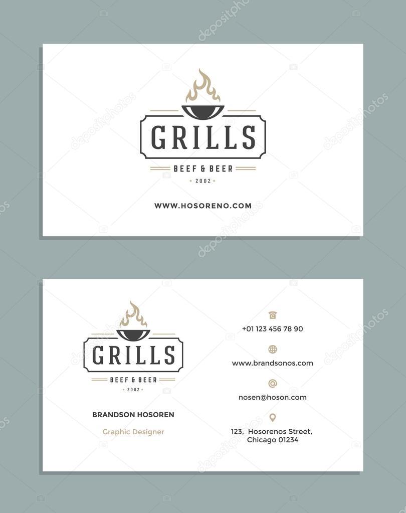 Diseño de tarjetas y plantilla de logotipo de estilo Retro — Vector ...