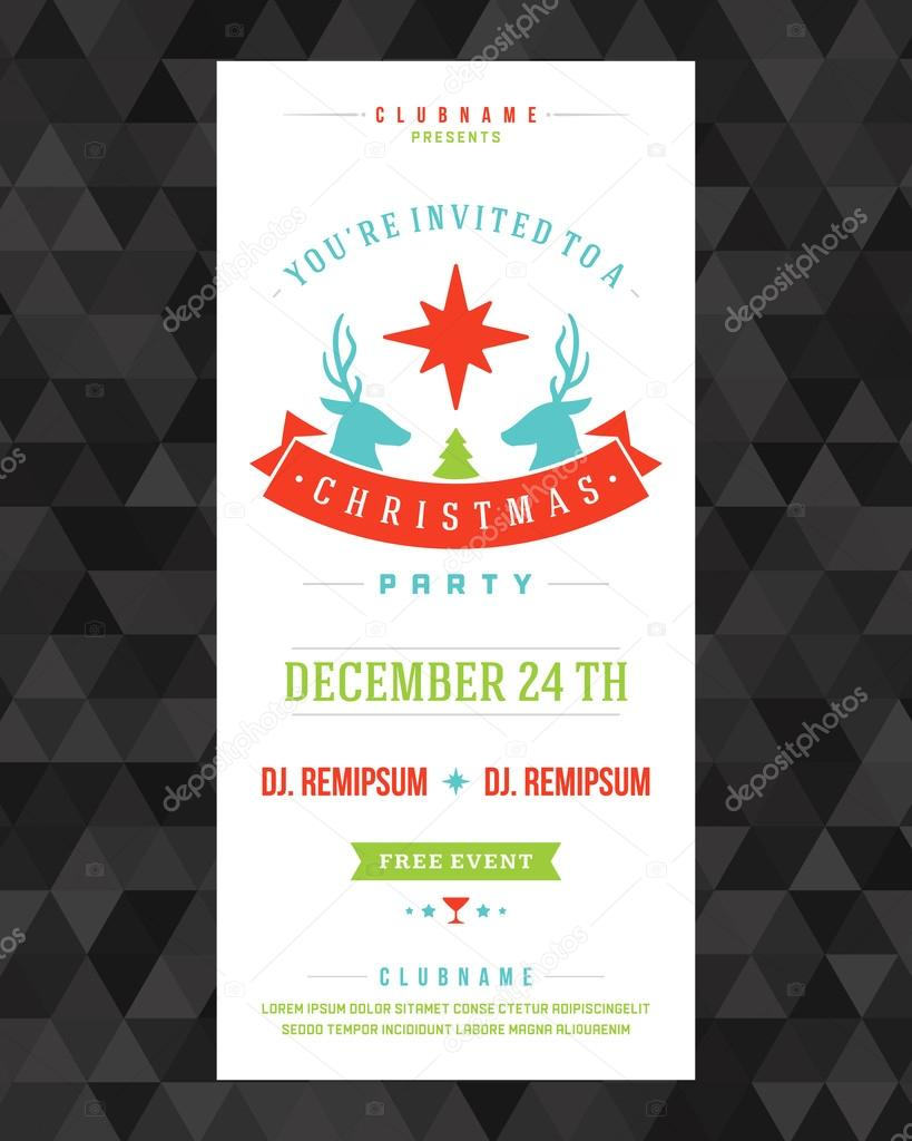Christmas party invitation retro typography and ornament decorat ...