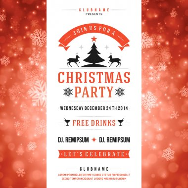 Christmas party invitation retro typography vector illustation