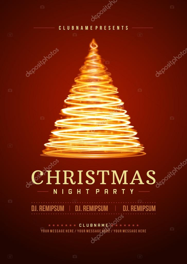 Christmas party invitation retro typography vector illustation ...