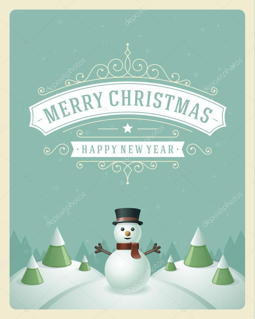 Weihnachten-Retro typografischen und Schmuck Dekoration. Frohe Chris ...