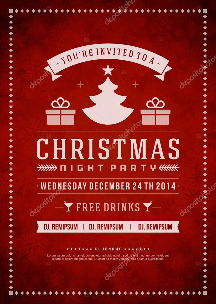 Christmas party invitation retro typography and ornament — Stock ...