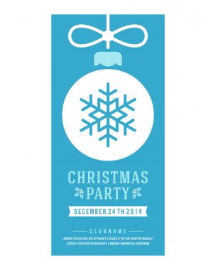 Christmas party invitation retro typography and ornament decoration. Christmas holidays flyer or poster design clip art vector
