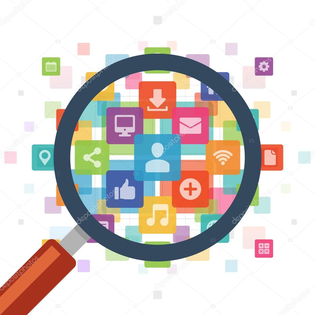Magnifying glass and social media icons