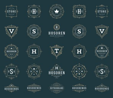 Set Luxury Logos template flourishes calligraphic elegant