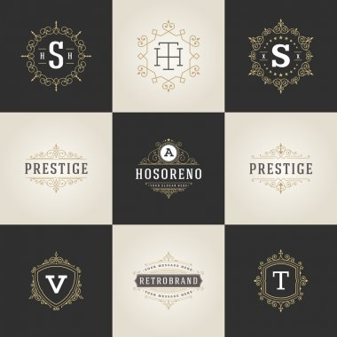 Set Luxury Logos template flourishes calligraphic elegant ornament lines. Business sign, identity for Restaurant, Royalty, Boutique, Hotel, Heraldic, Jewelry, Fashion and other vector illustration clip art vector