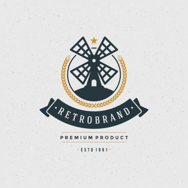Mill Logo Design Element in Vintage Style