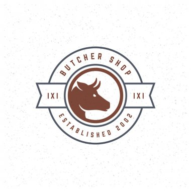Butcher Shop Design Element in Vintage Style