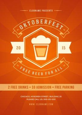 Oktoberfest beer festival celebration retro typography poster or flyer template clip art vector
