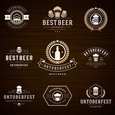 Beer festival Oktoberfest labels, badges and logos set