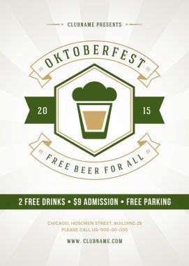 Oktoberfest beer festival celebration retro typographic poster or flyer template clip art vector