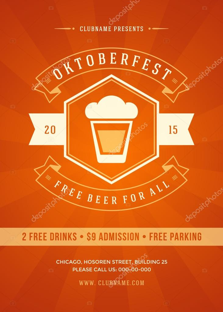 Oktoberfest beer festival poster or flyer template
