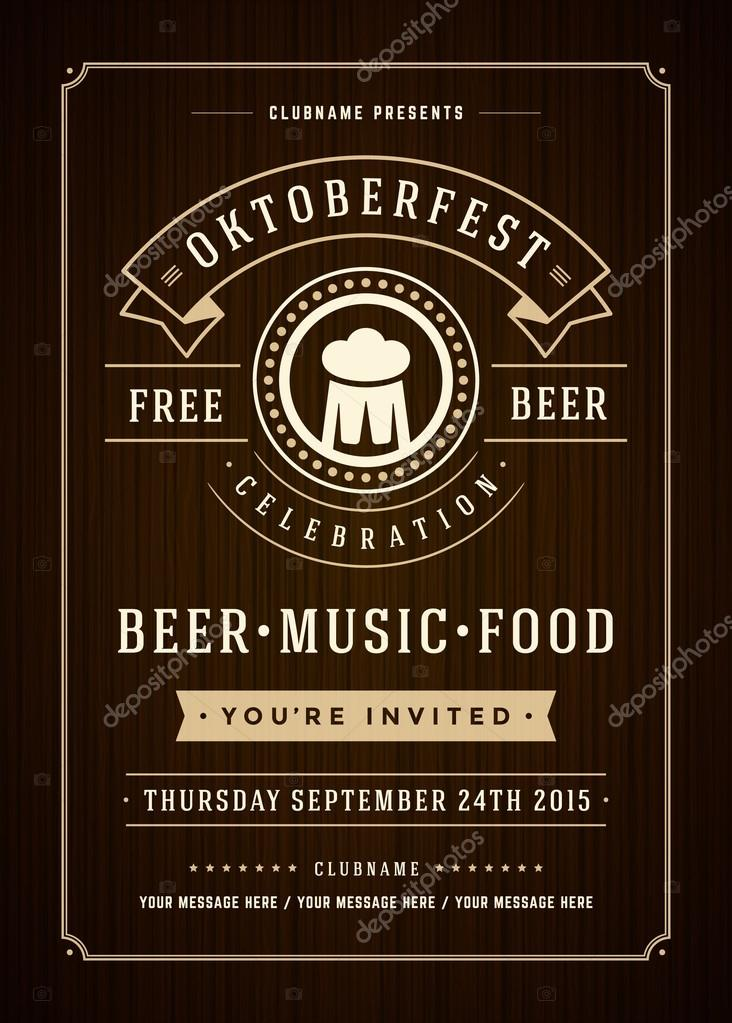 oktoberfest beer festival poster or flyer template ストック