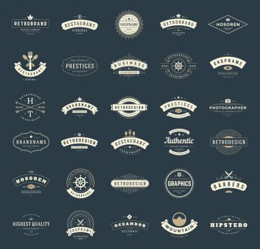 Retro Vintage Logotypes or insignias set. Vector design elements, business signs, logos, identity, labels, badges, ribbons, stickers and other branding objects stock vector