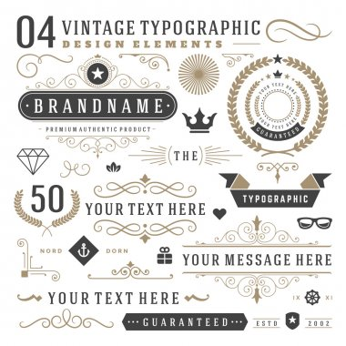 Retro vintage typographic design elements. Arrows, labels ribbons, logos symbols, crowns, calligraphy swirls ornaments and other stock vector