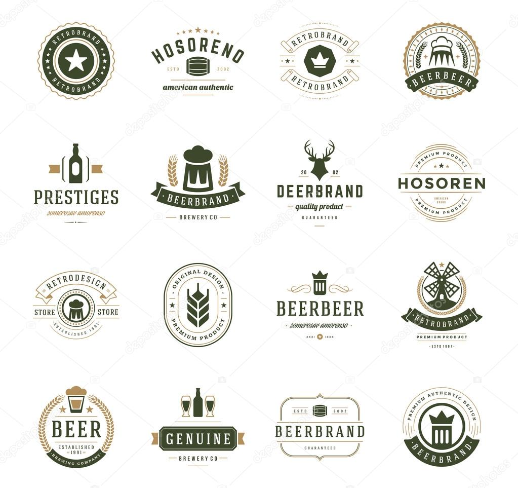 Set Beer Logos, Badges and Labels Vintage Style