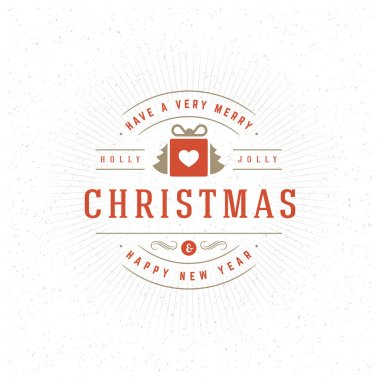 Merry Christmas Greeting Card Vector Background.