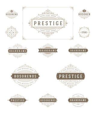 Set Luxury Logos template flourishes calligraphic elegant ornament