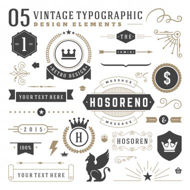Retro vintage typographic design elements. Arrows, labels ribbons, logos symbols, crowns, calligraphy swirls ornaments and other clip art vector