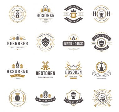 Set Beer Logos, Badges and Labels Vintage Style. Design elements retro vector illustration stock vector