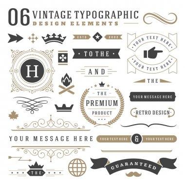 "Картина, постер, плакат, фотообои ""Ретро Винтаж типографский дизайн элементы"", артикул 86320872"