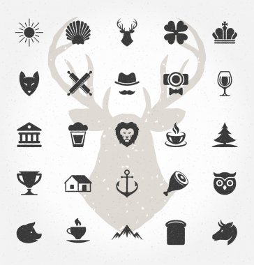 Retro Hand Drawn Objects and Icons Vector Design Elements