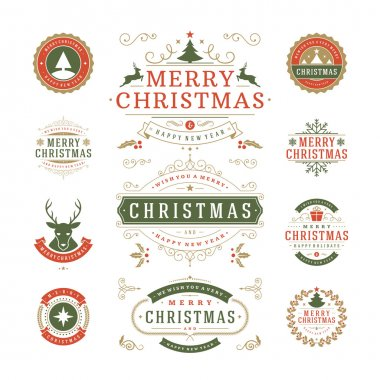 Christmas Labels and Badges Vector Design. Decorations elements, Symbols, Icons, Frames, Ornaments and Ribbons, set. Typographic Merry Christmas and Happy Holidays wishes clip art vector