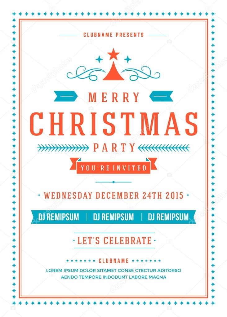 Christmas party invitation poster design vector illustration vetor christmas party invitation poster design vector illustration vetor de stock stopboris Images