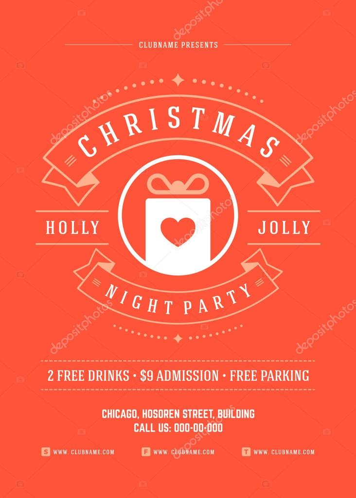 christmas party invitation poster design vector illustration