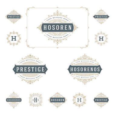 Set Luxury Logos template flourishes calligraphic elegant ornament lines