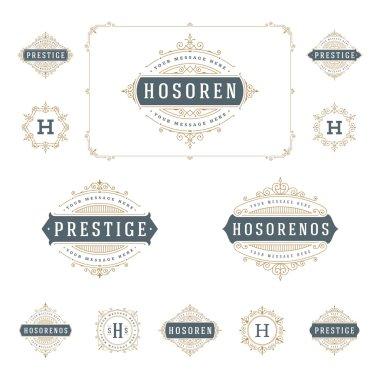 Set Luxury Logos template flourishes calligraphic elegant ornament lines