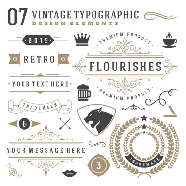 Retro vintage typographic design elements. Labels ribbons, logos symbols, crowns, calligraphy swirls, ornaments and other clip art vector