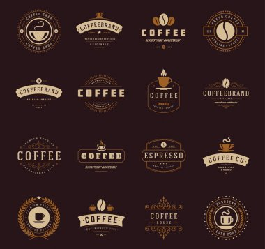 Coffee Shop Logos, Badges and Labels Design Elements set. Cup, beans, cafe vintage style objects retro vector illustration stock vector