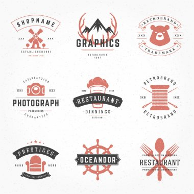 Retro Vintage Logotypes or insignias Hand drawn style set