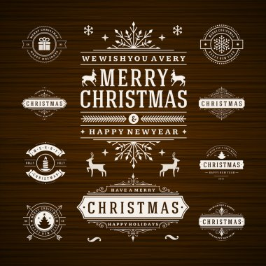 Christmas Decorations Vector Design Elements. Typographic elements, Symbols, Icons, Vintage Labels, Badges, Frames, Ornaments set. Flourishes calligraphic. Merry Christmas and Happy Holidays wishes clip art vector