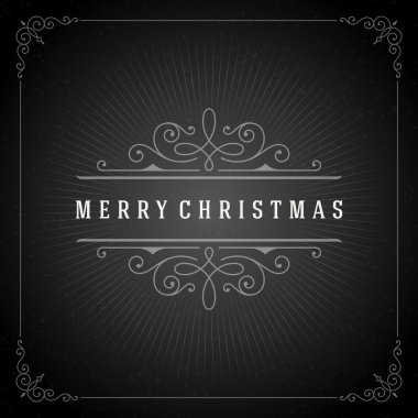 Christmas typography greeting card and flourishes ornament decoration