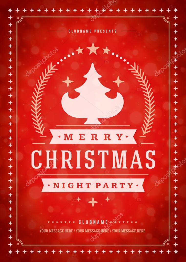 Christmas party poster retro typography and ornament decoration