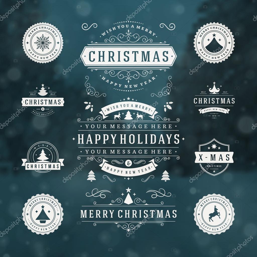 Elementos de diseño de vectores de Navidad decoraciones — Vector de ...
