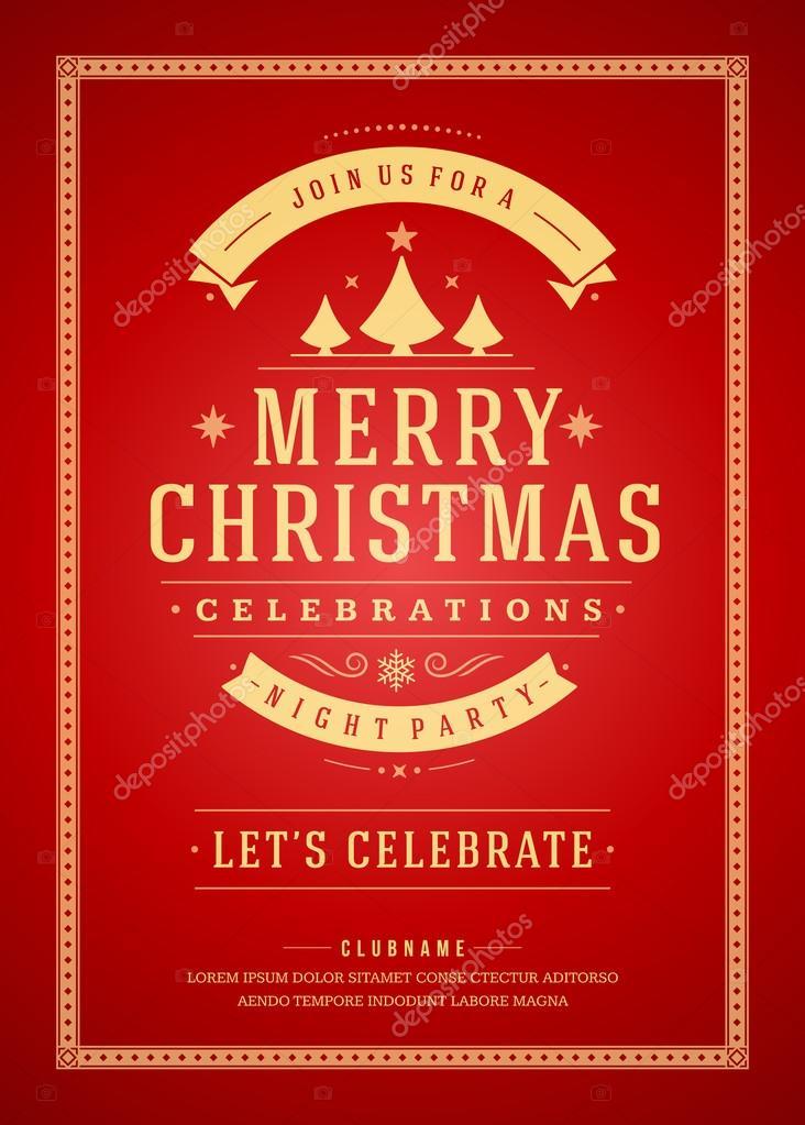 Weihnachtsfeier Plakat.Weihnachtsfeier Plakat Retro Typografie Und Ornament Dekoration