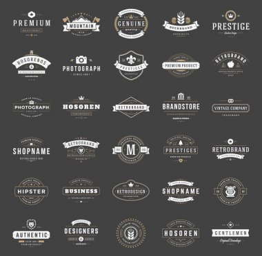 Retro Vintage Logotypes or insignias set. Vector design elements, business signs, logos, identity, labels, badges, ribbons, stickers and other branding objects clip art vector