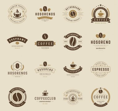 Coffee Shop Logos, Badges and Labels Design Elements set